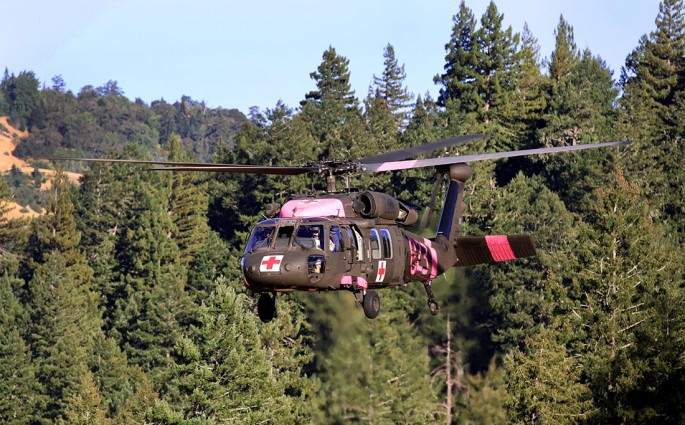 A UH-60 Black Hawk from the California Army National Guard takes off from the Eel River Conservation Camp Helibase Aug. 11 during the Rocky Fire in Northern California. (U.S. Army National Guard photo/Staff Sgt. Eddie Siguenza)